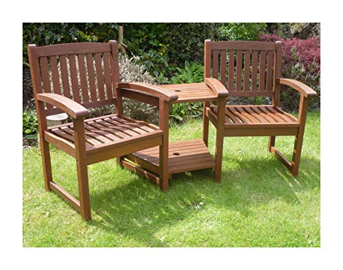 Hardwood Garden Bench Companion Set Henley Love Seat Outdoor Living Garden Patio Furniture