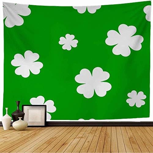 Tapiz de Pared Tapestry Resumen Follaje Verde Cuatro Hojas Trébol Vacaciones Celebración Natural Día Celta Ecología Wall Hanging 80X60inch