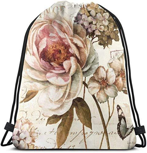 KINGAM Cinch Sacks - Mochila deportiva con diseño de mariposa de flores y mariposas, impermeable, para hombres, mujeres y niñas