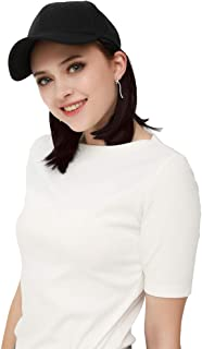 SEIKEA Attached Bob Hair with Cap Short Wig Hat Extension Synthetic Invisible Size Adjustable - Dark Brown