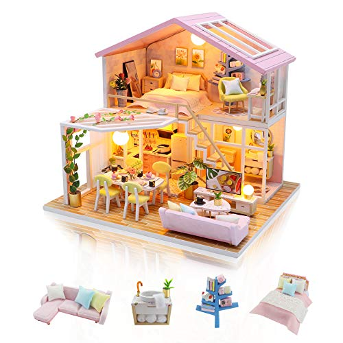 none-branded DIY Miniature Dolls House Kit to Build Handmade Mini Room with Music Dust Cover and Furniture for Decoration Creative Craft Gifts for Women (Sweet Time)