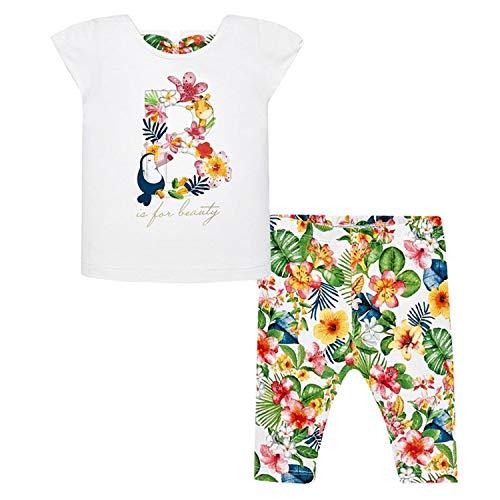 Mayoral - Mädchen Baby Set T-Shirt Leggins, weiß bunt Blumen - 1.748, Größe 98