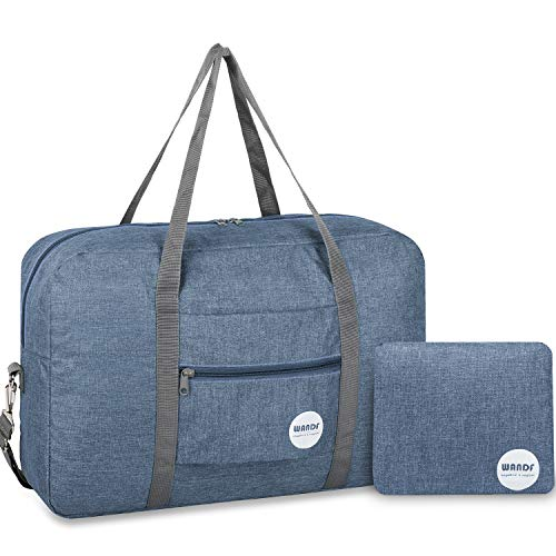 WANDF Foldable Travel Duffel Bag Luggage Sports Gym Nylon (Light Grey 25L Upgrade with Shoulder Strap) (Light Blue)
