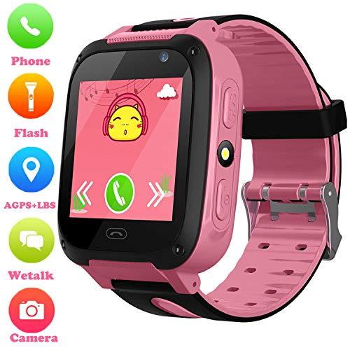 Niños Smartwatch Phone - Reloj de Pulsera Inteligente con Localizador LBS Chat de Voz SOS Cámara Linterna Despertador Juegos Reloj Digital Mejor Regalo Niños Niña Compatibles con iOS Android,Rosa