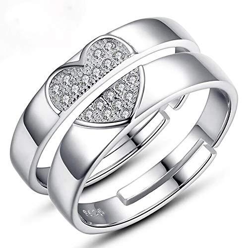 24 Joyas - Coppia di anelli regolabili, ideali come fedi per innamorati, regalo romantico ideale per fidanzamento, Natale, anniversario