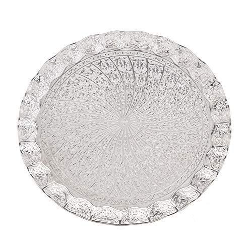 Erbulus Turkish Serving Trays - 1377 x 1377 - Silver Tray Decorative - Table Centerpiece and Kitchen Tea Trays for Serving - Round Silver Platter for Dinner Coffee and Dessert