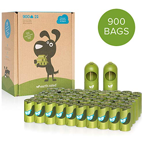 Earth Rated Dog Poop Bags 900 Extra Thick and Strong Biodegradable Poop Bags for Dogs Guaranteed Leakproof Unscented 60 Rolls 15 Doggy Bags Per Roll Includes 2 Dispensers for Dog Leads
