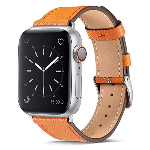 Marge Plus Compatible with Apple Watch Band 44mm 42mm 40mm 38mm, Genuine Leather Replacement Band for iWatch Series 6 5 4 3 2 1, SE (Orange/Silver, 44mm/42mm)
