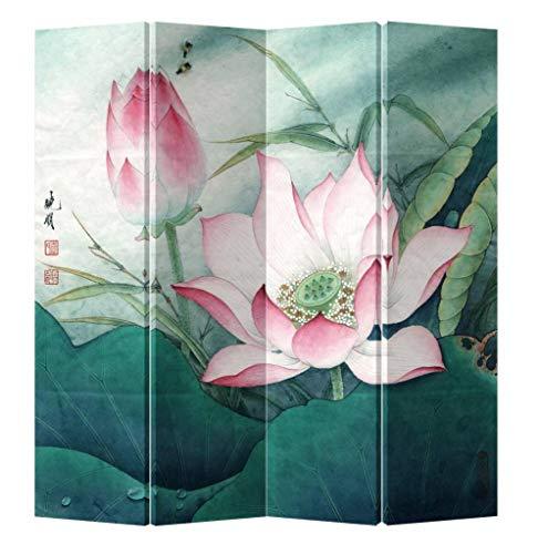 Fine Asianliving Paravent Raumteiler Trennwand Spanische Wand Raumtrenner Sichtschutz Japanisch Orientalisch Chinesisch L160xH180cm Bedruckte Canvas Leinwand Doppelseitig Asiatisch -203-143