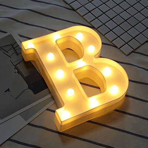 Janly Clearance Sale Letras LED del alfabeto iluminadas blancas de plástico colgando de pie, decoración del hogar para el día de Pascua (B)