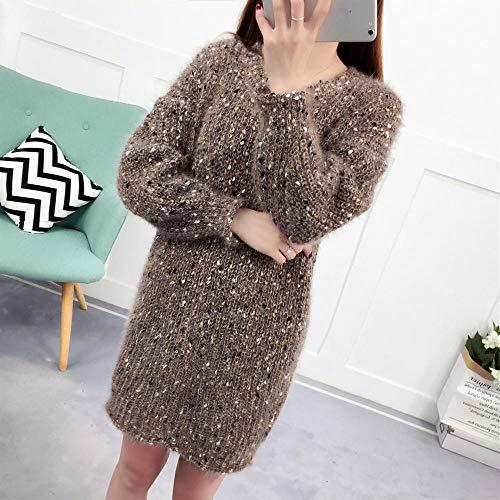 JFHGNJ Pullover Pullover Frauen Rundhals Lange beiläufige lose Herbst und Frühling Kleidung Damen Pullover-fenzi_One Size
