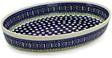 Polish Pottery 12½-inch Oval Baker (Grecian Peacock Theme) + Certificate of Authenticity