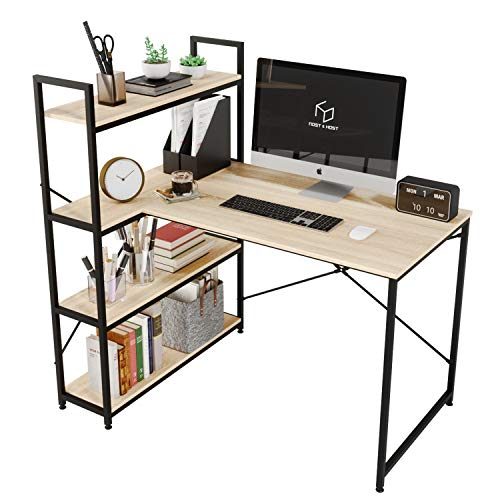 Nost & Host 46 Inch Small L Shaped Desk with Shelves, Corner Desk for Small Space with 4 Tier Storage Bookshelf, Vanity Makeup Table, Home Office Computer Desk, Oak Color