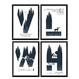 Pack de Cuatro Posters de Letras con diseño de Naturaleza. Letras H, V, L, W. Posters de Letras con diseño. Tamaño A4 sin Marco
