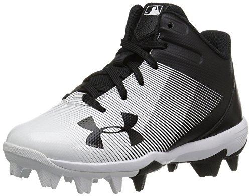 Under Armour Boys' Leadoff Mid Jr. RM Baseball Shoe, Black (011)/White, 8K