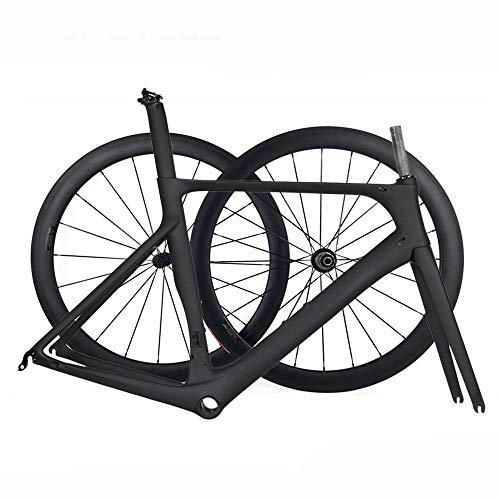 TQ Neuer Aero Vollcarbon Rennrad Rahmen & Räder T1000 Carbon Rennrad Rahmensatz Mit 50mm Laufradsatz BB86,50.5cmglossy