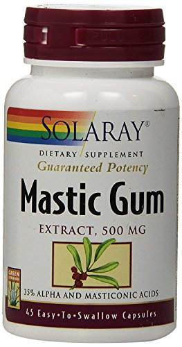 Solaray Mastic Gum Extract | Healthy Gastrointestinal and Digestive Function Support | 1000 Mg | 45 VegCaps, 22 Servings
