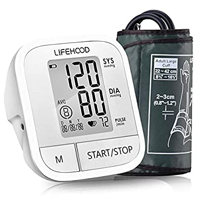 Blood Pressure Monitor - Clinically Accurate & Fast Reading Health Monitor, 60 Reading Memory Automatic Upper Arm Digital BP Monitor with Large Display & Buttons, Wide Range Cuff, One Touch Operation by LIFEHOOD Guangdong Transtek Medical Electronics Co.,