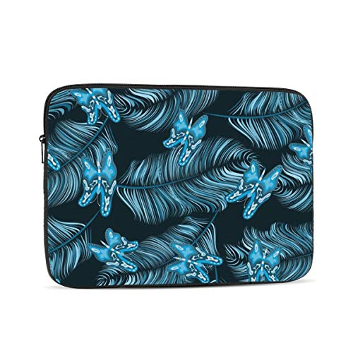 Laptop Case,10-17 Inch Laptop Sleeve Case Protective Bag,Notebook Carrying Case Handbag for MacBook Pro Dell Lenovo HP Asus Acer Samsung Sony Chromebook Computer,Blue Feathers And Butterflies 10 inch
