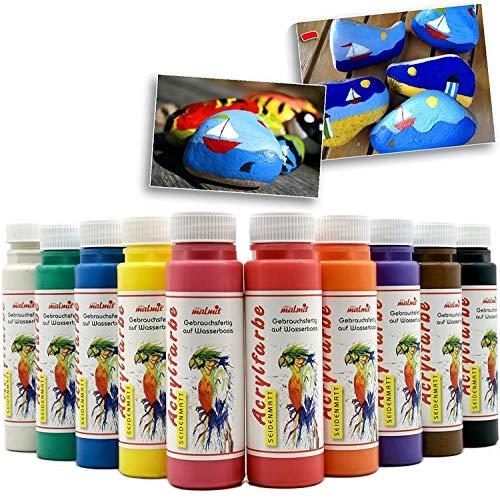 Play malmit® Acrylfarbe 10er Set je 250ml Malfarbe Seidenmatt Bastel Kinder Künstler Farbe für Leinwand, Holz, Stein, Pappe