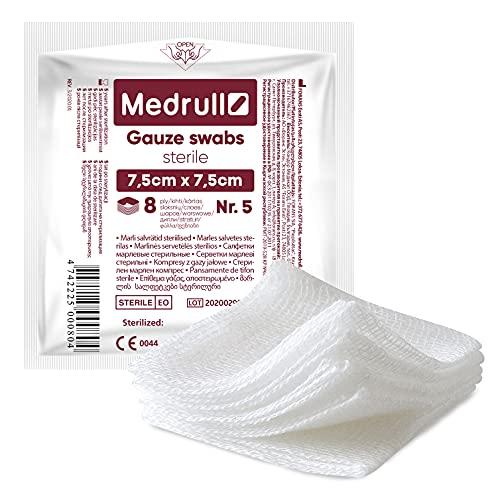 Medrull Compresas estériles de gasa, 100 unidades (20 paquetes de 5 unidades), 8 capas, 7,5 cm x 7,5 cm, material de vendaje, gasa