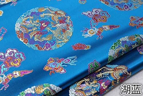 Meterware als Dekostoff- Cheongsam Tang Anzug Drachen Robe Stoff Dekoration Handgemachte Vintage Jacquard Brokat Stoff, See Blau 0,5 M