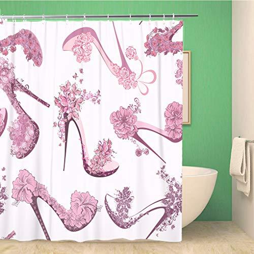 Awowee Decor Duschvorhang, rosa Muster, für Damen, Schuhe, High Heels, Blumen & Schmetterlinge, 180 x 180 cm, Polyester, wasserdicht, Badvorhänge Set mit Haken für Badezimmer