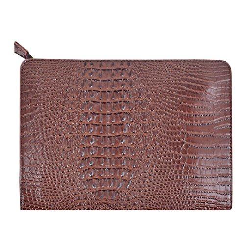 Van Caro Oversized Leather Crocodile Clutch Envelope Purse Evening Handbag for Women, Coffee