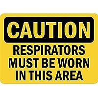 注意このエリアでは呼吸用保護具を着用する必要があります 金属板ブリキ看板警告サイン注意サイン表示パネル情報サイン金属安全サイン