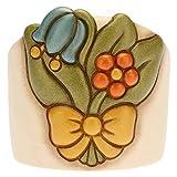 THUN - Porta Bicchieri Singolo con Fiori - Linea Country - Ceramica - 9,6x9,6x9 cm h