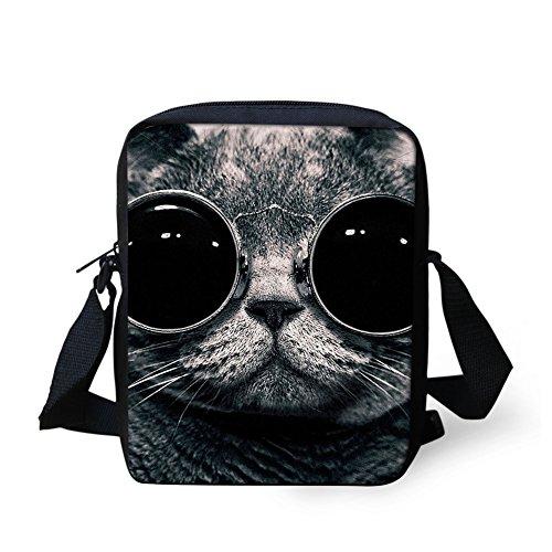 HUGS IDEA Cat Face Design Small Messenger Bag Shoulder Crossbody Travel Handbags Cellphone Pouch