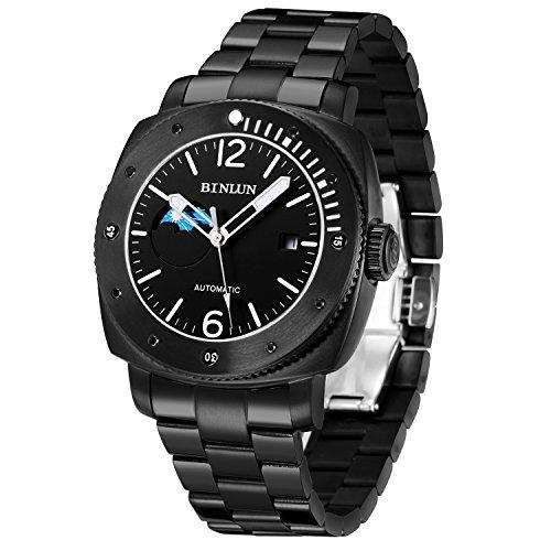 BINLUN Herren Uhren Analog Automatik Mechanisch mit Edelstah Uhrenarmband Schwarz Armbanduhr Zifferblatt