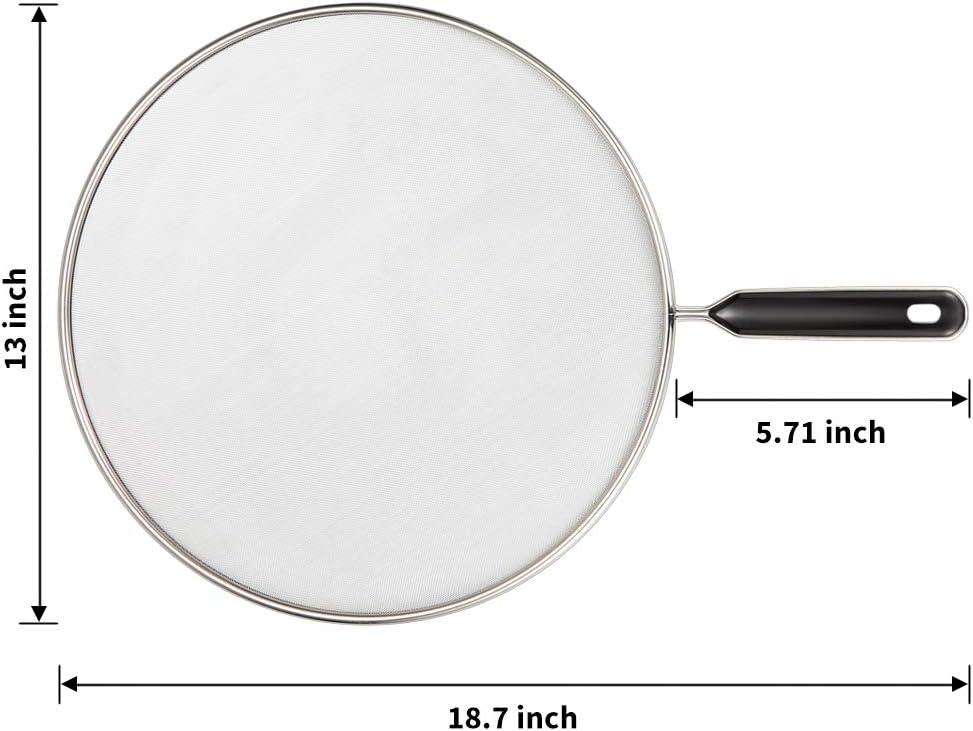 Splatter pantalla para sart/én 9.8 pulgadas protecci/ón contra salpicaduras con mango detiene aceite caliente Splash seguro cocina tapa suministro