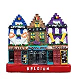 Weekinglo Souvenir Casa de la Calle Bélgica 3D Imán de Nevera Resina Artesanía Hecha A Mano Turista Viaje Ciudad Recuerdo Colección Carta Refrigerador Etiqueta