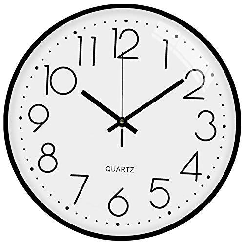 TOPPTIK Moderno Orologio da Parete Digitale 30 cm qualità orologio da parete a batteria senza ticchettio, rotondo decorativo per cucina, ufficio, camera da letto, soggiorno