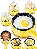 Cocedor de Huevos Eléctrico para Huevos Duros o Blandos, Huevos Escalfados, Tortillas y Alimentos al Vapor con Función de Apagado Automático y 2 Niveles con Capacidad de 10 Huevos
