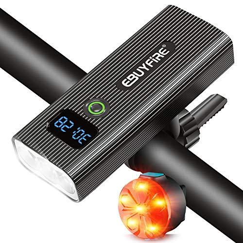 EBUYFIRE Set di luci per Bicicletta USB Ricaricabile, Faro e fanale Posteriore per Bicicletta Super Luminosi, 5 modalità di Illuminazione, Luce per Bici con Display Digitale a LED (2400lumen)