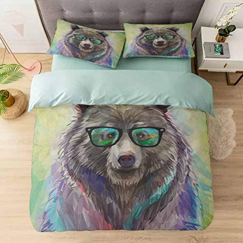 Duvet Cover Set, Funny Cool Low Wild Hipster Bear with Spectacles Colorful Portrait, 1 Duvet Cover with 2 Pillowcases-Hypoallergenic, Easy Care, Soft and Durable, Lime Green Blue Gray Purple