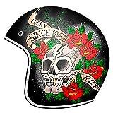 Mt Helmets Le Mans 2 Sv Skull & Roses A1 Gloss Red Xs