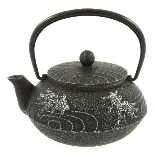 Iwachu Japanese Iron Teapot Tetsubin Silver and Black Goldfish