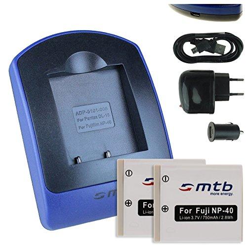 2 Baterìas + Cargador (USB/Coche/Corriente) para Fuji NP-40 / Pentax D-Li8, D-Li 85 / BenQ DLi-102 / Jay-Tech/Medion UVM - s.Liste