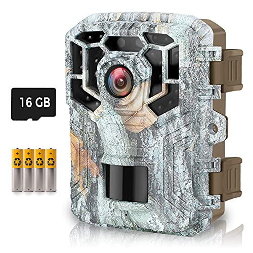 HAWKRAY Mini Trail Camera,1080P 16MP Hunting Game Cameras with 16GB SD Card and 4 Batteries 120° Wide-Angle Night Vision Motion Sensor 0.2s Trigger Speed Small Trail Game Cam IP65 Waterproof 2.0' LCD
