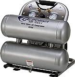 California Air Tools CAT-4610S Ultra Quiet & Oil-Free 1.0 hp 4.6 gallon Steel Twin Tank Electric Portable Air Compressor, Silver