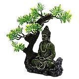 Estatua del budismo antiguo en Zen Fish Tank Paisajismo Ornamento Simulación Artesanía Decoraciones Acuario Entretenimiento Acuario Decoración Roca