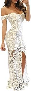 DMZing Maxi Vestido de Moda para Mujer con Estampado de Escote Reina, Elegante, Sexy, Formal, para graduación, cóctel, Fiesta, Boda, Blanco, M