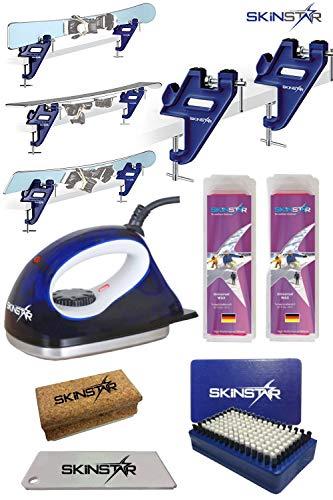 SkinStar Skiwax Set Skispanner Wachseisen Bürste Wachs Abziehklinge 6-teilig