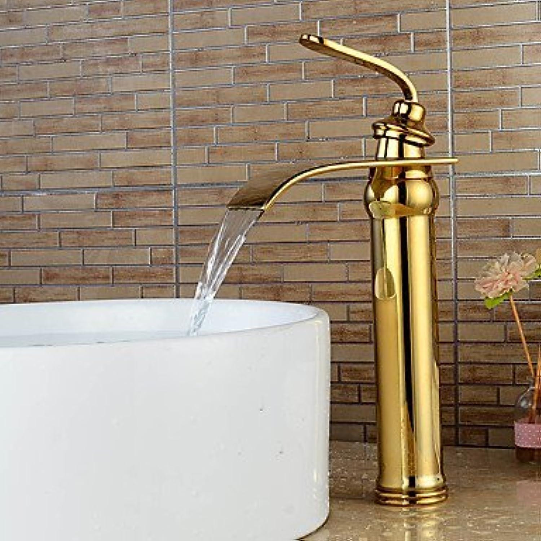 Moderne zentrale InsGrößetion Wasserfall- Breitstrahl mit Keramikventil Ein Knopf Ein Loch für Ti-PVD, Spüle