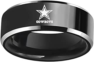 Sping Jewelry Dallas Cowboys Football Ring Flat NFL Black Titanium Steel Sports Band for Men Women Comfort Fit