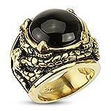 Anillo de acero inoxidable ionizado en oro con diseño de garra de dragón venenoso con piedra de ónice enredada