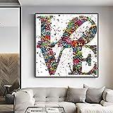 MJKLU Graffiti Moderno Street Pop Art Print I Love You Carta Pareja Amor Esperanza Lienzo Pintura Arte de la Pared Póster Impresiones Dormitorio Sala de Estar Oficina Estudio Decoración para el hogar